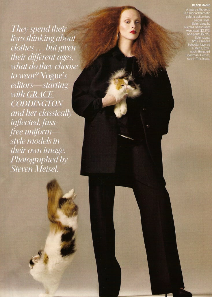 Karen Elson Pulls On Her Grace Coddington Face for Vogue August 2008