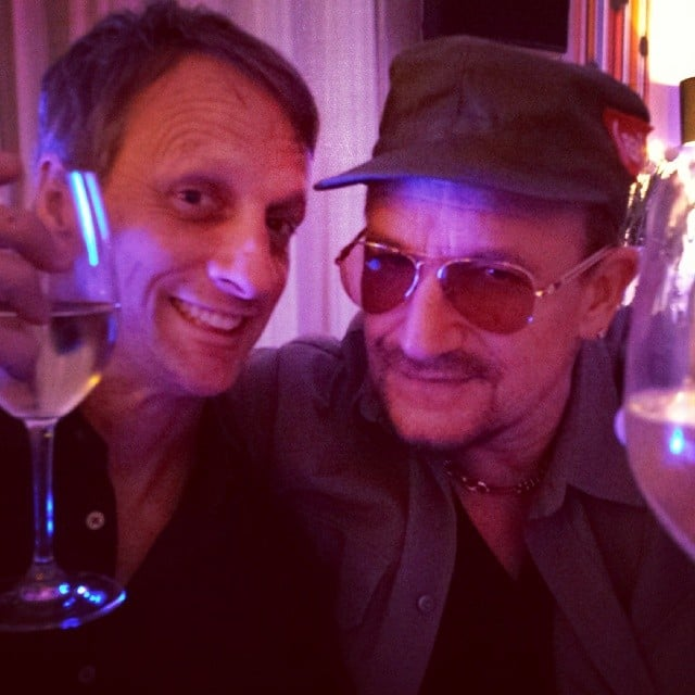 Tony Hawk had a casual dinner with Bono — no big deal! Source: Instagram user tonyhawk