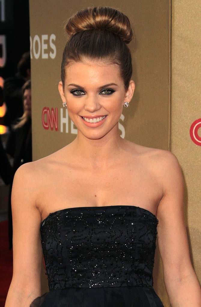 AnnaLynne McCord got glam with a top knot.