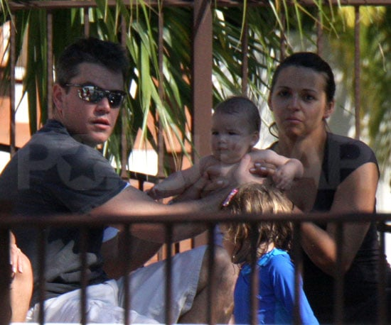 Photo of Matt Damon with wife Luciana and Daughters Isabella and Gia