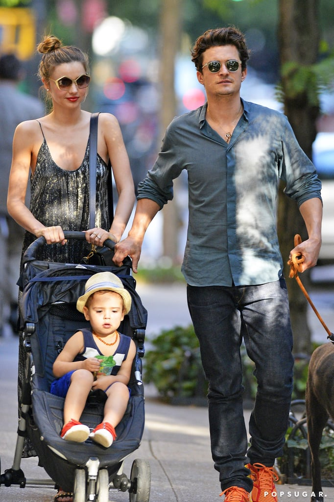 Miranda Kerr and Orlando Bloom celebrated the Fourth of July in NYC with a walk to Central Park with Flynn and their pup Sidi.