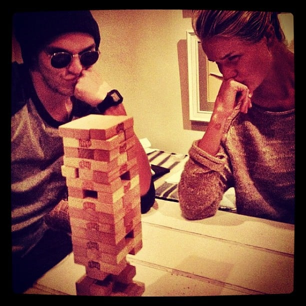 Rosie Huntington-Whiteley played an intense game of Jenga. Source: Instagram User rosiehw