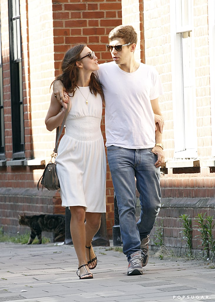 Keira Knightley looked up at James Righton during their stroll.