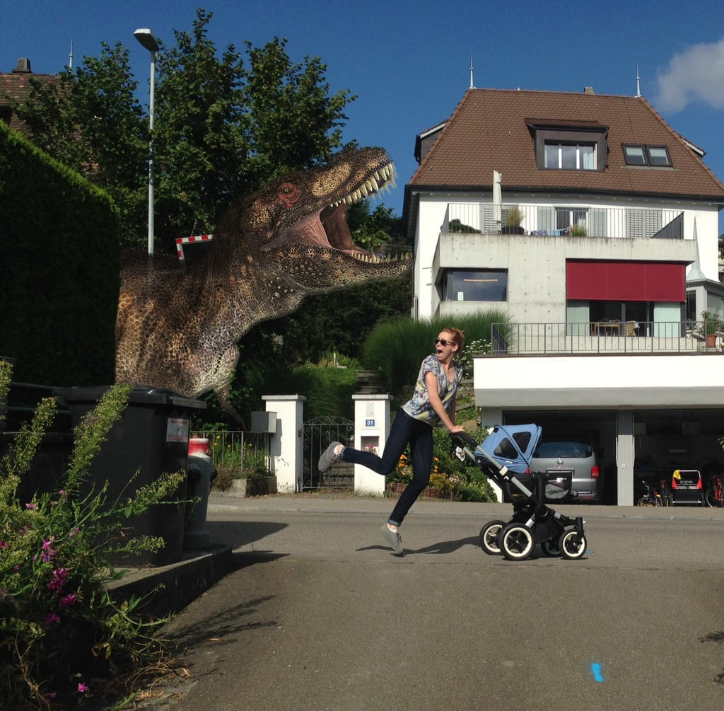 An afternoon jog with the dinosaur.  Source: Reddit user ukalele