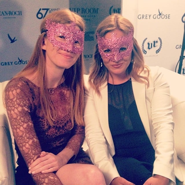 Producer Carla Hawkes and POPSUGAR Now's Becca Frucht sported masks at the Dancing Spies party, where we interviewed Rosario Dawson on the red carpet.