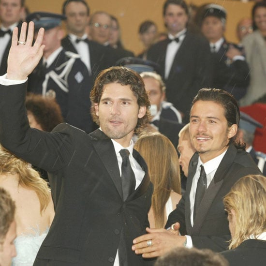 Troy stars Eric Bana and Orlando Bloom waved to fans in 2004.