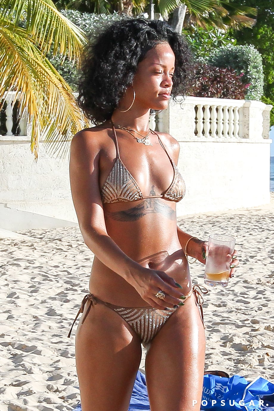 Rihanna wore her bikini in Barbados.