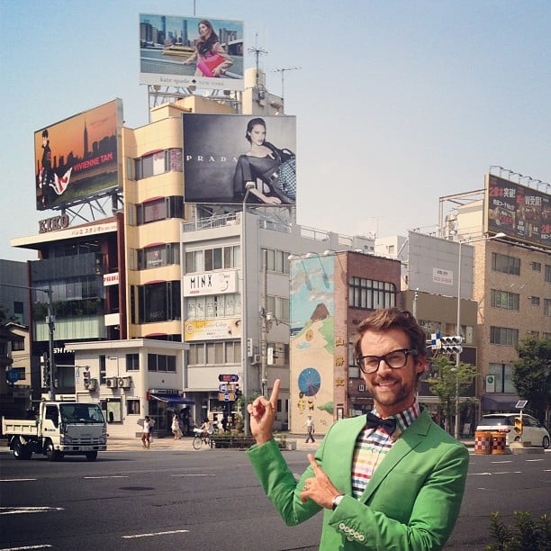 Brad Goreski shared a proud moment on the streets of Tokyo when he spotted a Kate Spade campaign billboard that he had styled. Source: Instagram user mrbradgoreski