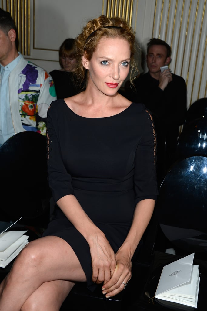 Uma Thurman popped up in Paris for the Versace show during Paris Haute Couture on Sunday.