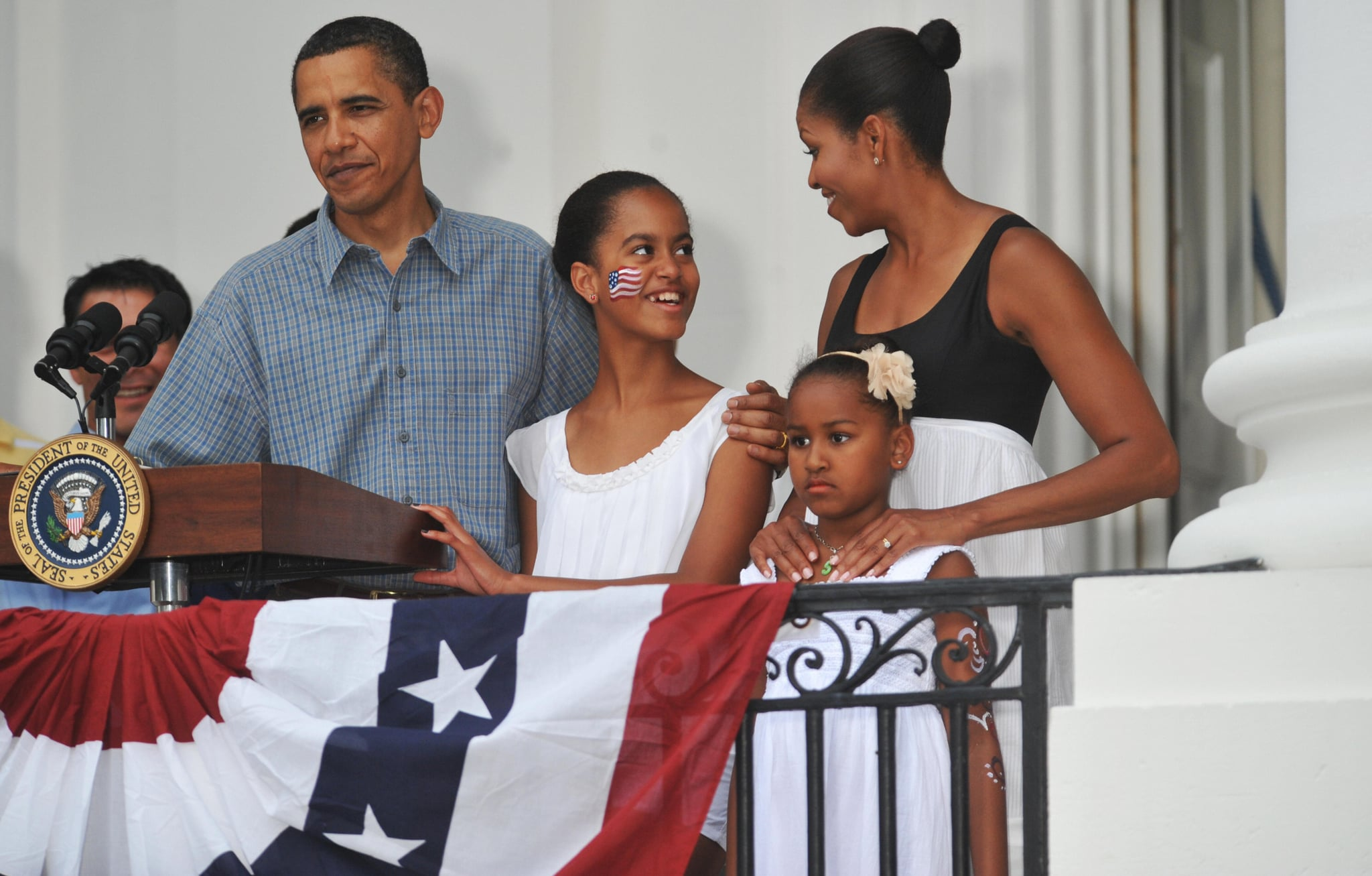 Malia rocked some red, white, and blue face paint in 2009.