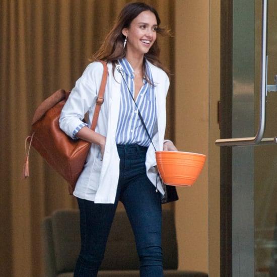 Jessica Alba Wears Skinny Cropped Jeans June 2016