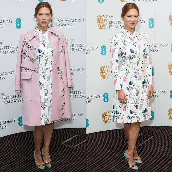 Lea Seydoux in a Miu Miu Pink Coat at a BAFTA Event