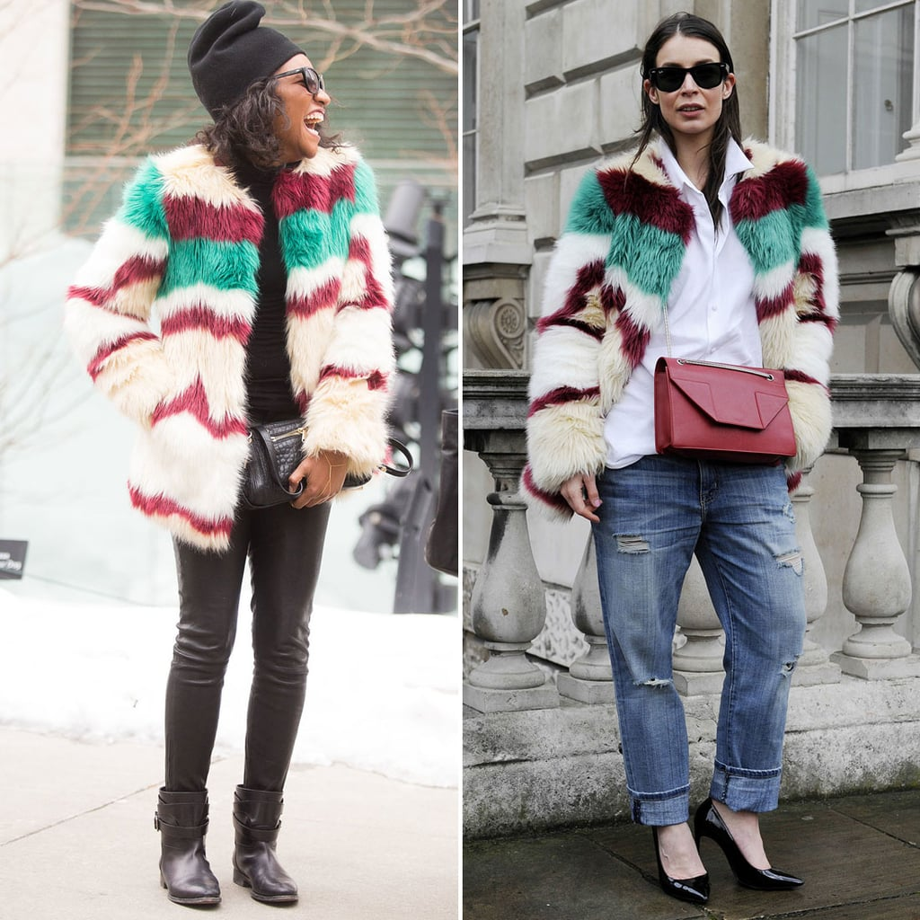 Danielle Prescod and this LFW attendee outfitted easy bottoms with a striped furry topper for the ultimate in statement coats.  Source: Melodie Jeng/The NYC Streets and IMAXTREE