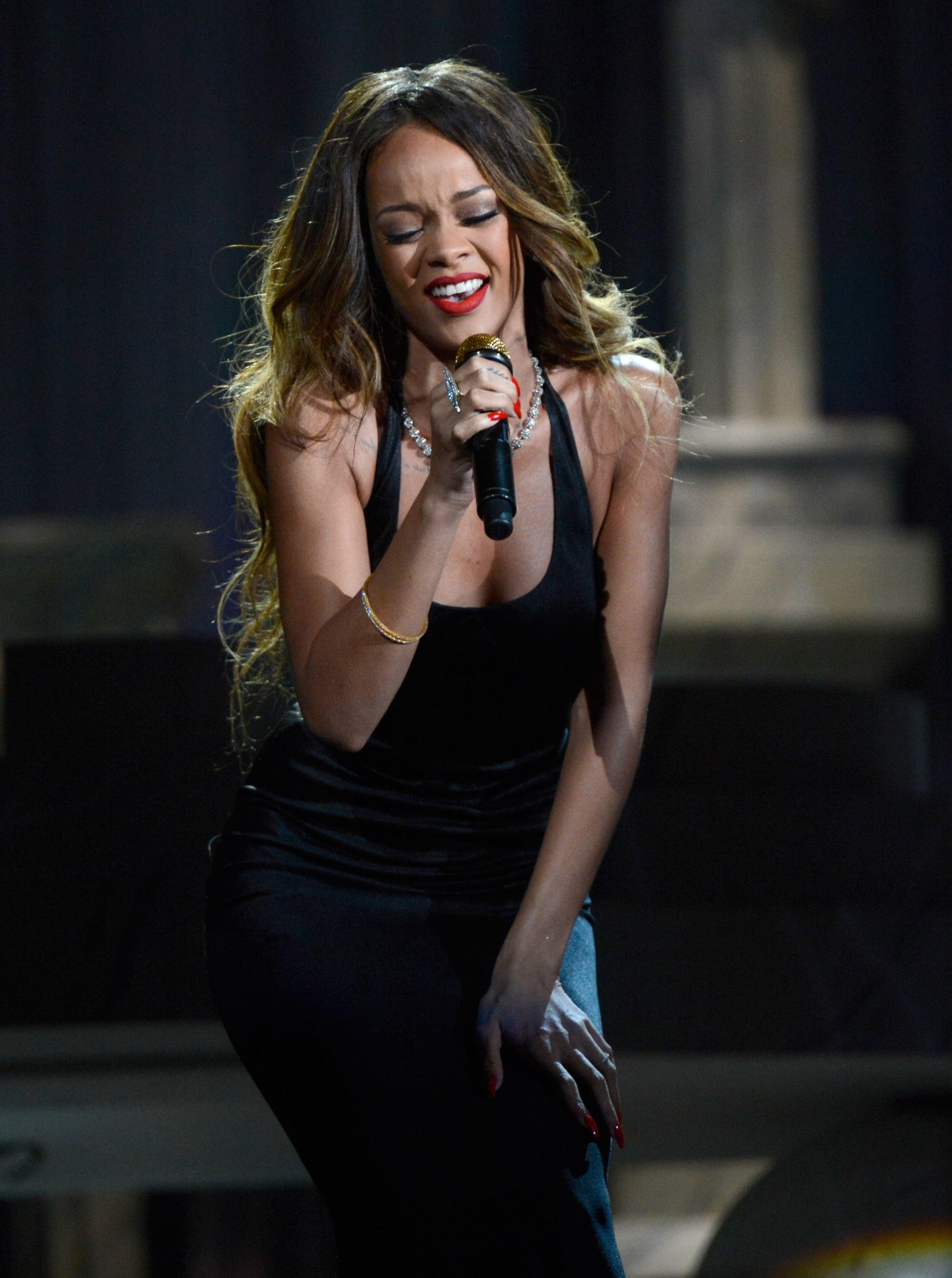 Rihanna sang at the Grammys.