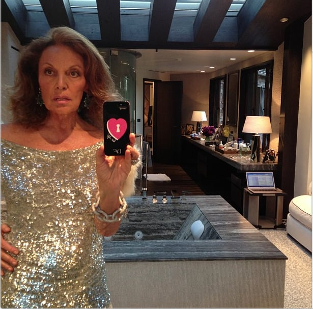 Diane von Furstenberg got ready for the Vanity Fair party! Source: Instagram user dvf
