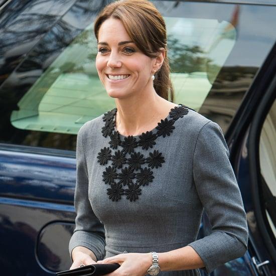 Kate Middleton Wearing Gray Orla Kiely Dress