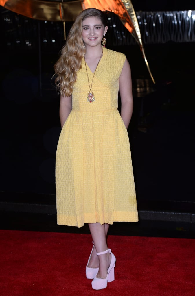 Willow Shields wore a simple yellow dress.