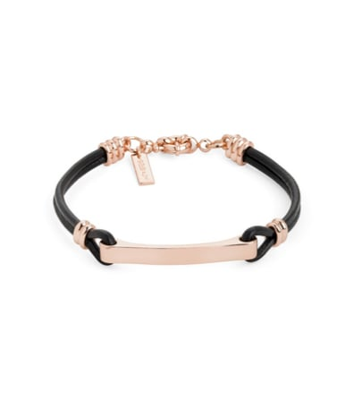 We love the mix of gold and black in this Rose Gold Leather Bit Cuff ($30).