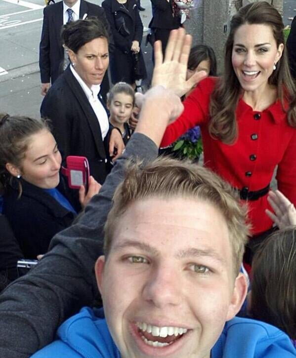 One lucky boy got a great selfie with Kate when she visited Christchurch, New Zealand. Source: Twitter user Quifhair