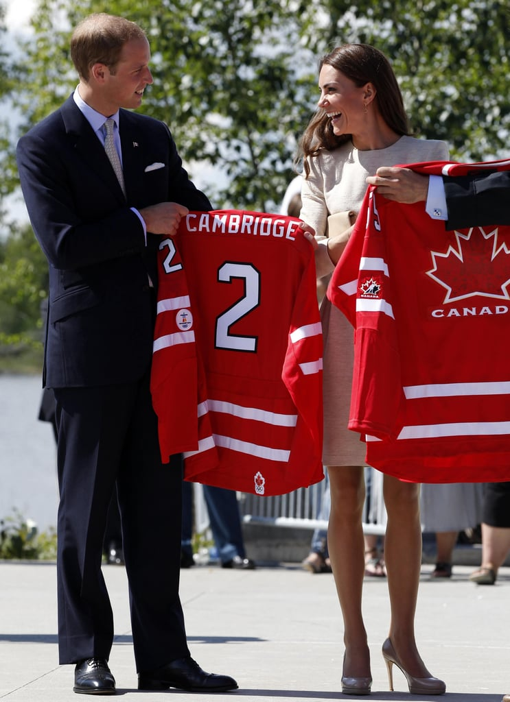 Prince William and Kate Middleton were gifted with matching jerseys.