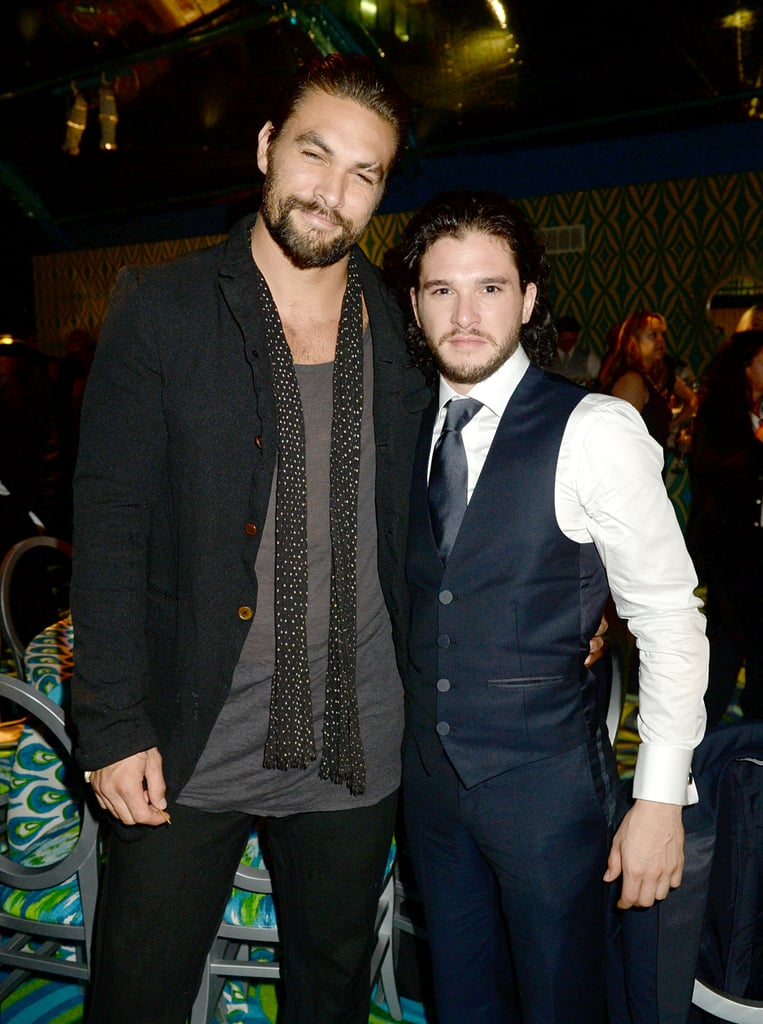 Game of Thrones studs Jason Momoa and Kit Harington linked up at the HBO Emmys afterparty.