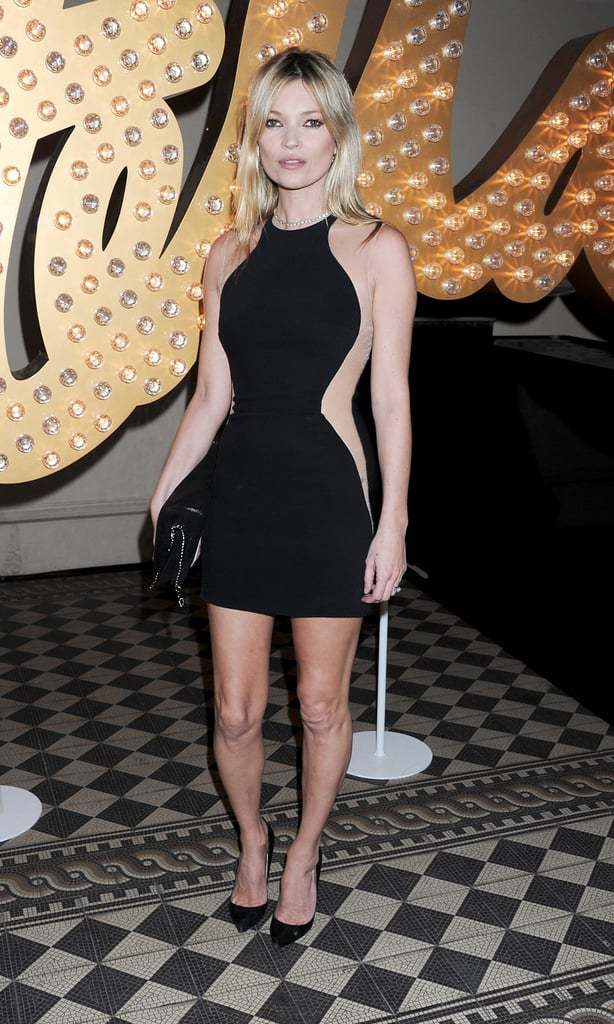 Kate Moss showed off her sexy silhouette in a Stella McCartney minidress for the designer's London Fashion Week presentation in February.