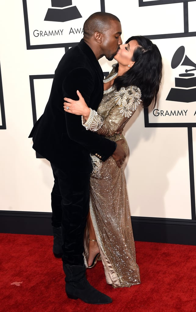 On the Grammys red carpet in 2015, Kanye couldn't help but give Kim a smooch and a butt-grab.