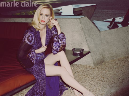 See January Jones Super Sexy Spread For UK Marie Claire May 2011 Issue, wearing Versace, Louis Vuitton and more