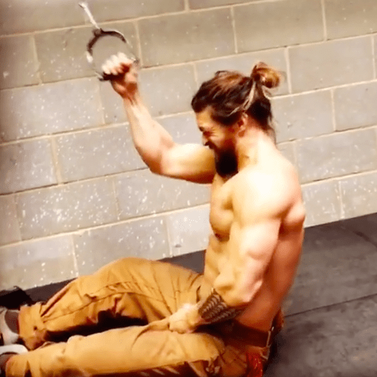 Jason Momoa Working Out in Jeans