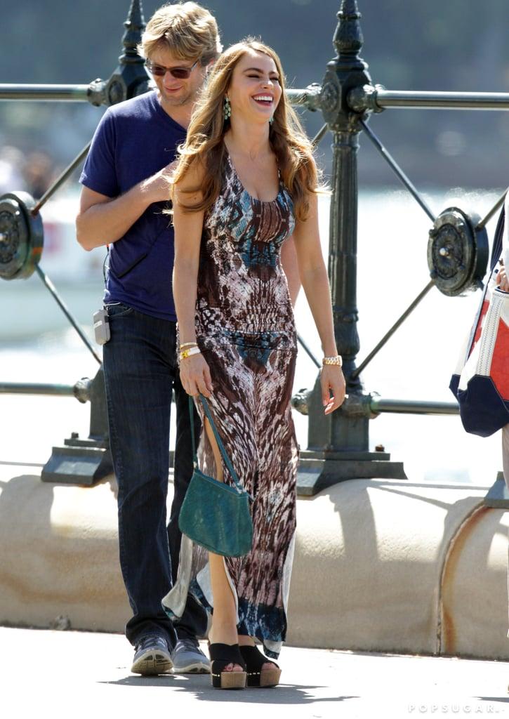 Sofia Vergara filmed Modern Family in Sydney on Thursday.