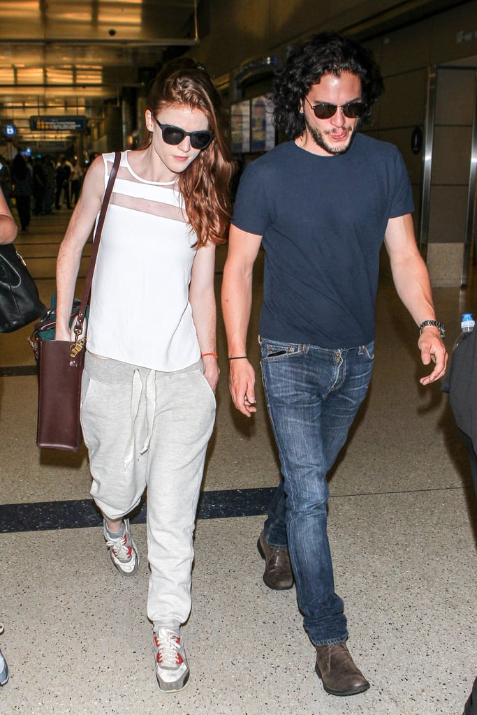 Game of Thrones' Kit Harington and Rose Leslie arrived at LAX together on Wednesday.