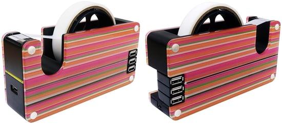 Colorful Striped USB Tape Dispenser