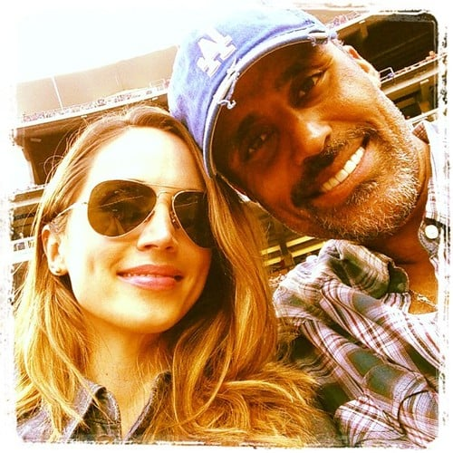 Eliza Dushku and Rick Fox took in an LA Dodgers game. Source: Twitter user elizadushku