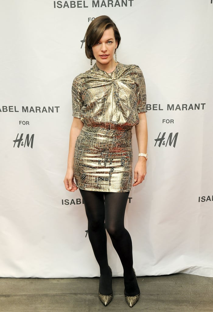 At the New York launch party for the collaboration, Milla Jovovich wore a shimmering dress and a pair of pumps from the lineup.