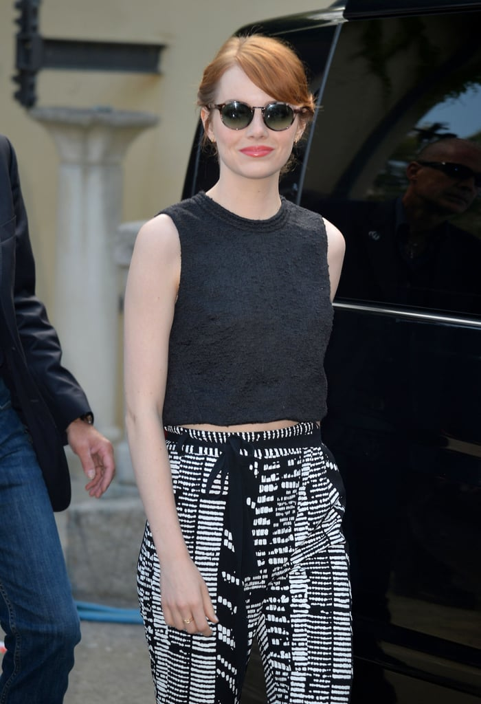 Emma Stone put on her shades on Wednesday when she stepped out in Venice, Italy.