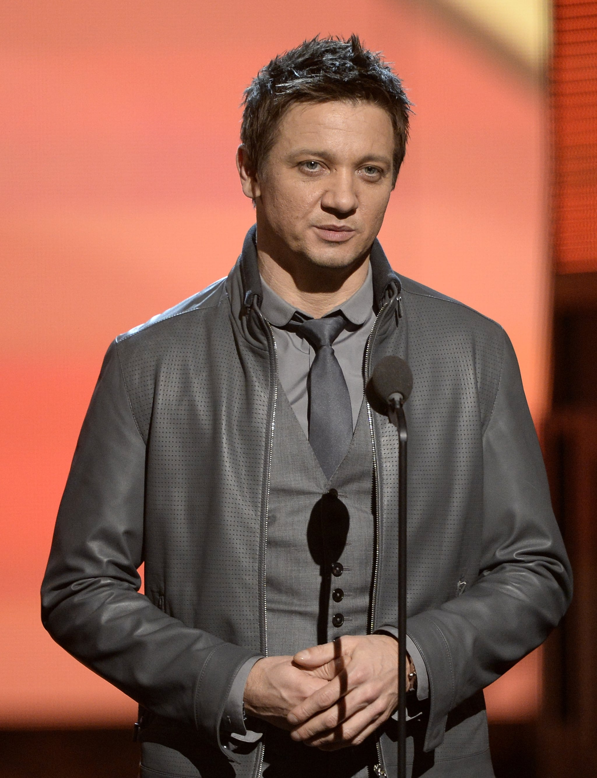 Jeremy Renner popped up to introduce an act at the Grammys.