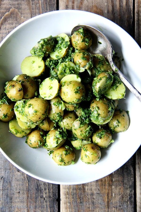 New Potatoes With Green Harissa