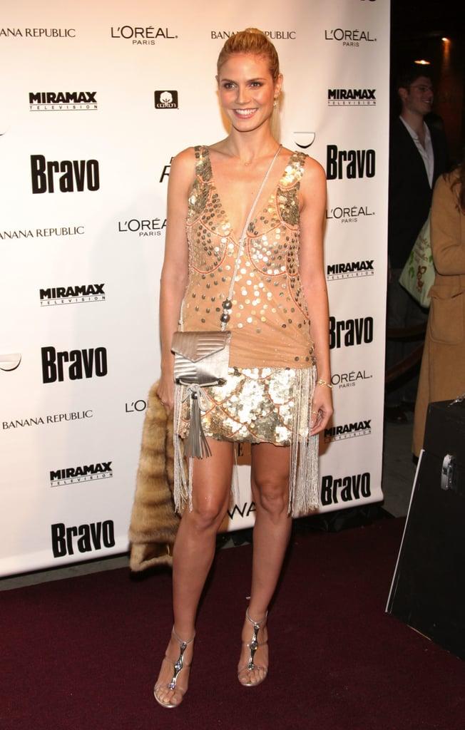 Heidi Klum in a Nude Jeweled Mini at a 2005 Project Runway Event