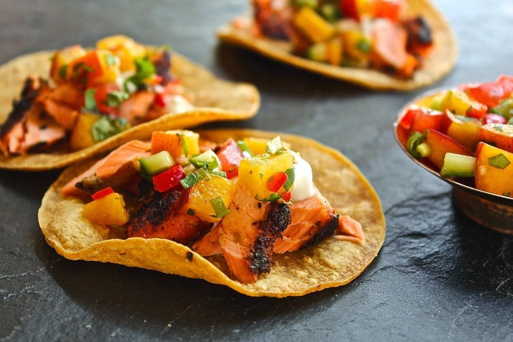 Salmon Tacos With Peach-Cucumber Salsa