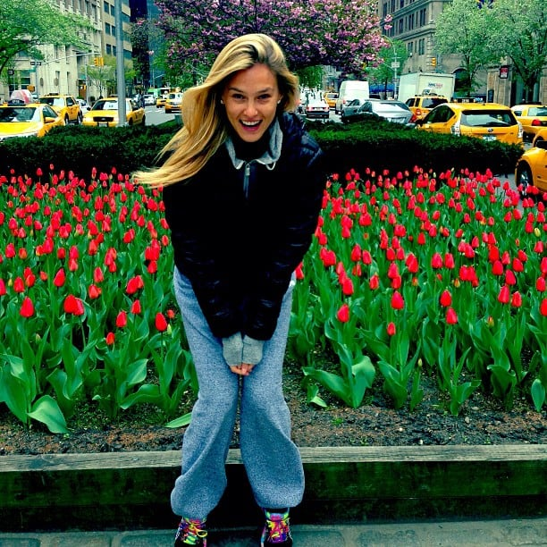 Bar Refaeli posed with pretty tulips while in NYC. Source: Instagram user barrefaeli