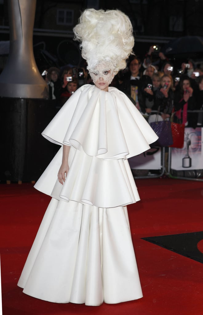 Lady Gaga in White Francesco Scognamiglio Dress at 2010 Brit Awards