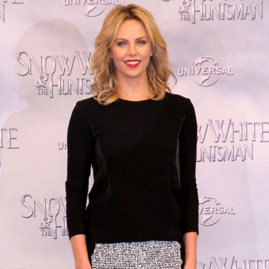 Charlize Theron Black and White Knit Skirt