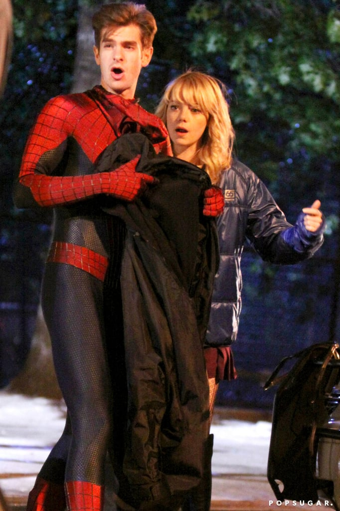 Andrew Garfield and Emma Stone hung out on the set together in NYC while breaking from filming.