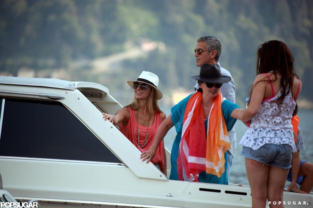 George Clooney hosted a group on his boat in Lake Como for the Fourth of July.