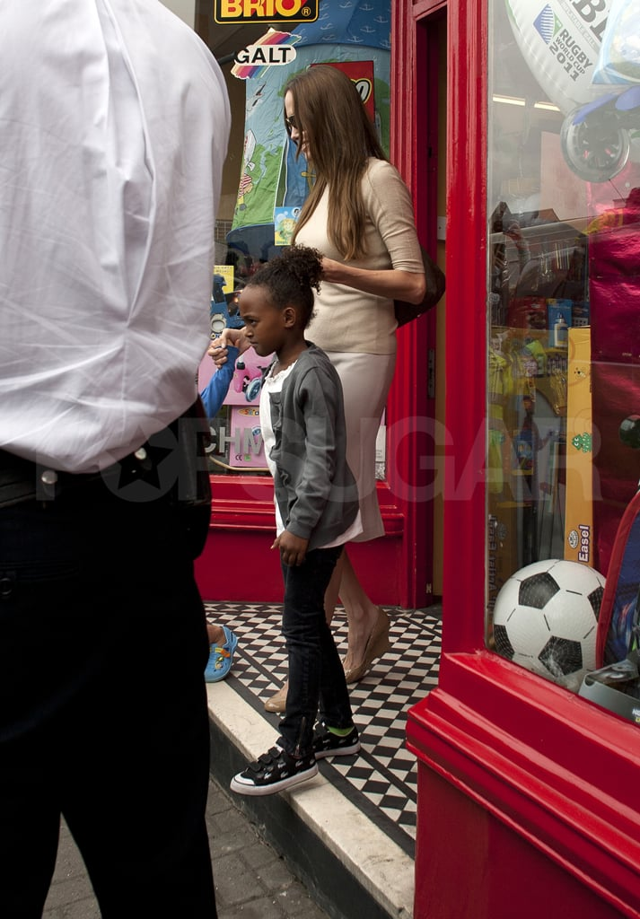 Angelina Jolie in London with Zahara Jolie-Pitt and Shiloh Jolie-Pitt.
