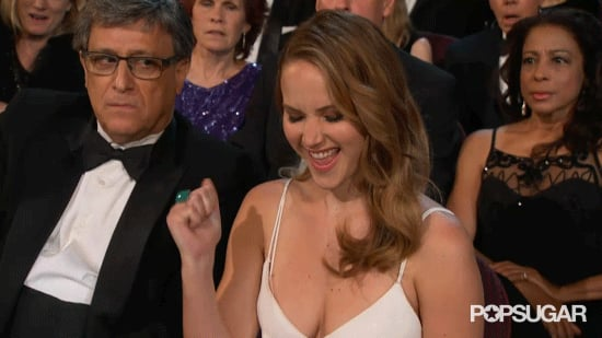 Jennifer Lawrence Yeah Face Oscars GIF
