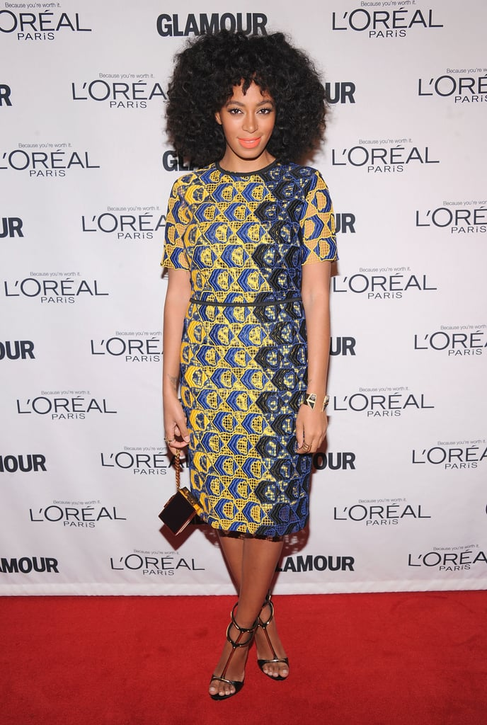 At the 2012 Glamour Women of the Year Awards, Solange showcased her love for standout prints in a bold Derek Lam sheath, then finished with a sleek box clutch and strappy heels.