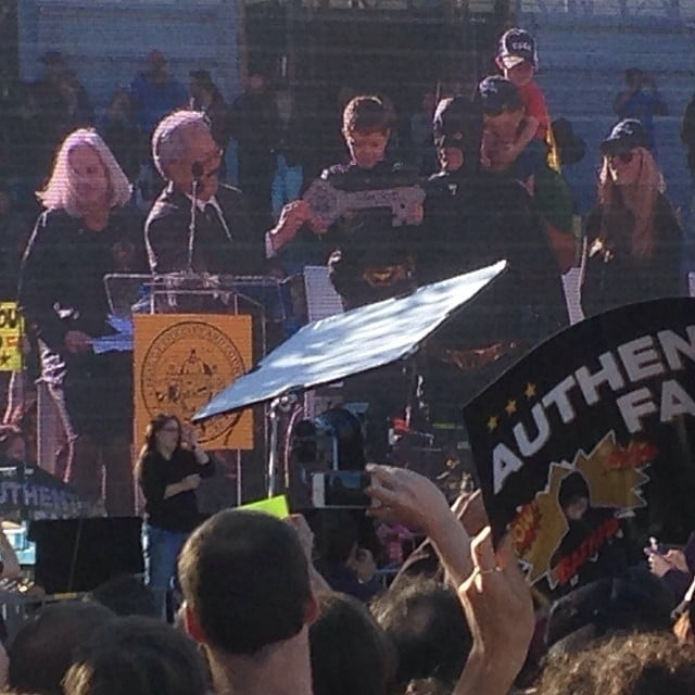 Batkid took the stage, receiving a key to the city. Source: Instagram user recklesspedestrian