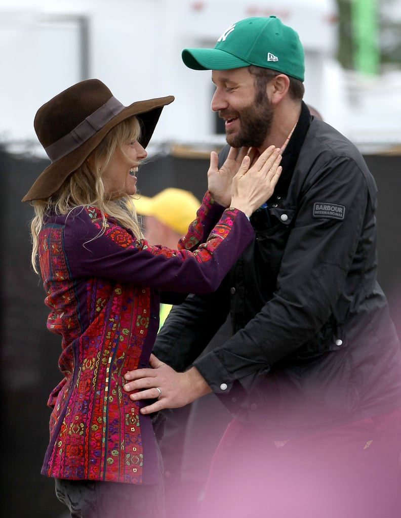 Sienna Miller greeted Chris O'Dowd.