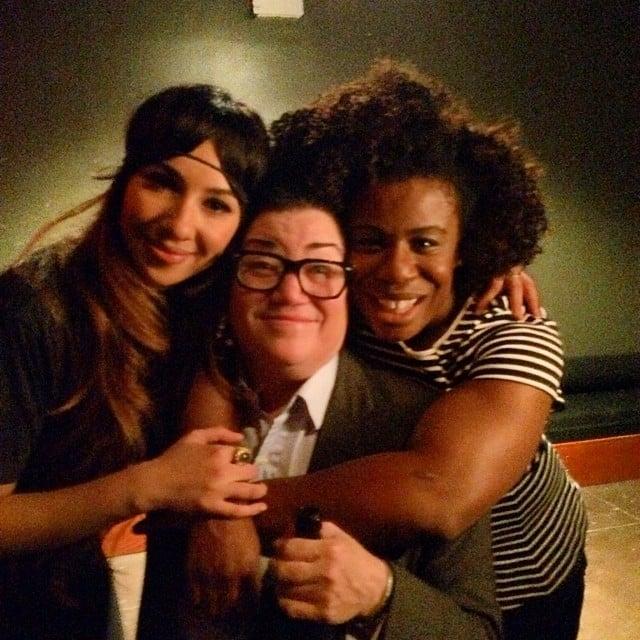 DeLauria is flanked by Aduba and Jackie Cruz. Source: Instagram user realleadelaria